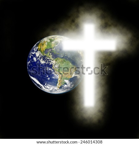 Earth with religious cross with black background. Elements of this image are furnished by NASA, - stock photo