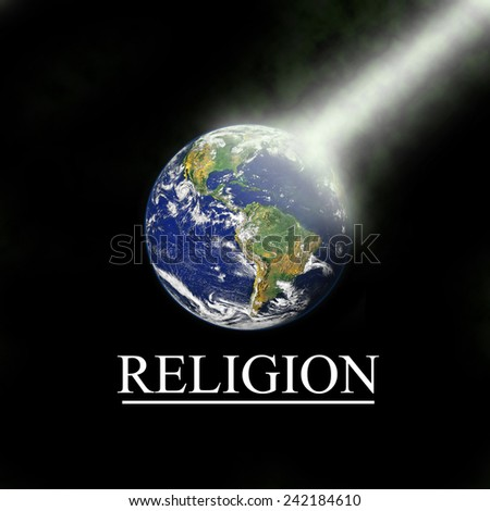 Earth with religious light beam with black background. Elements of this image are furnished by NASA, http://visibleearth.nasa.gov/view.php?id=54388 - stock photo