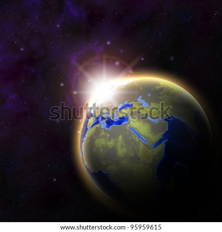 Earth with Rising Sun illustration
