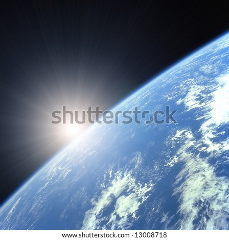 Earth with Rising Sun illustration background - stock photo