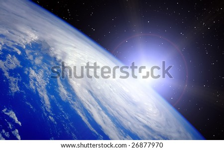 Earth with rising Sun illustration on Universe background - stock photo