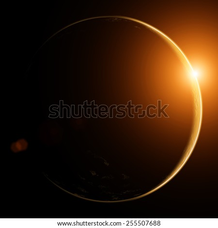 Earth with rising sun in space.  - stock photo