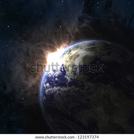 Earth with rising sun in space. Elements of this image furnished by NASA - stock photo