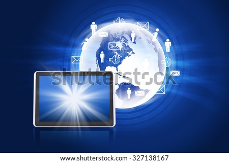 Earth with smartphone and icons on abstract blue background