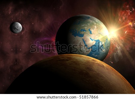 Earth with Sun, Moon and Venus - stock photo