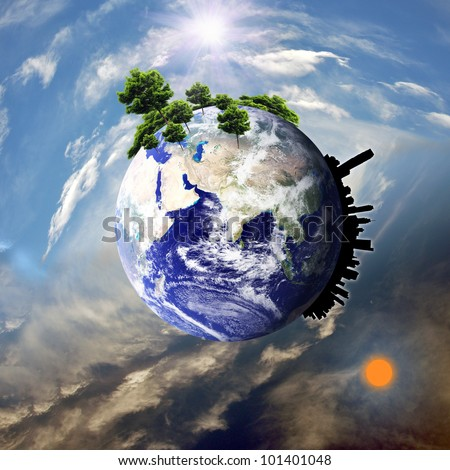 Earth with the different elements on its surface. : Elements of this image furnished by NASA - stock photo