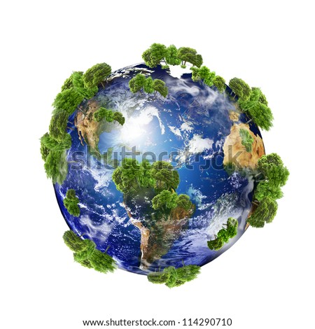 Earth with the different elements on its surface. (Some elements of this image furnished by NASA) - stock photo