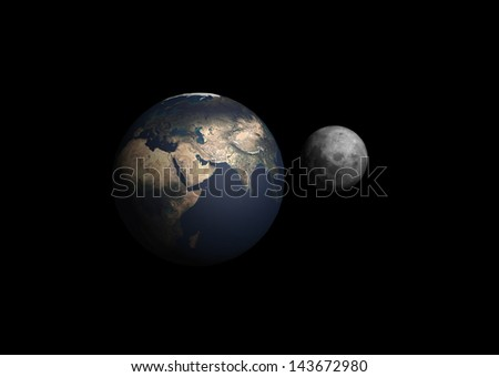 Earth with the moon. Elements of this image furnished by NASA - stock photo
