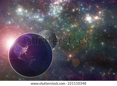 Earth with the Moon in the galaxy - illustration. Elements of this image furnished by NASA - stock photo