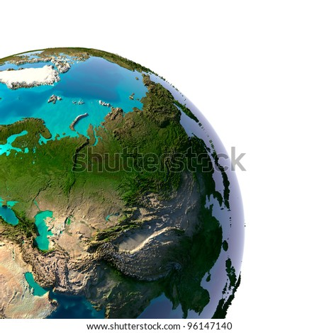 Earth with translucent water in the oceans and the detailed topography of the continents. A fragment of the Asia. Isolated on white - stock photo