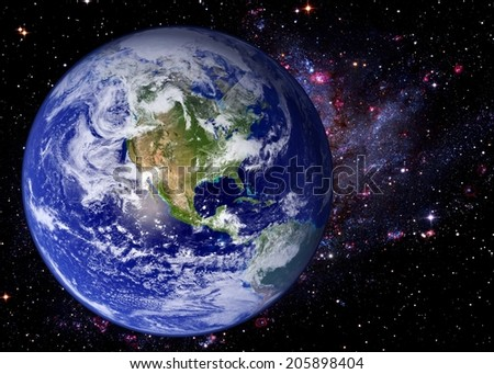 Earth world galaxy stars space universe background. Elements of this image furnished by NASA. - stock photo