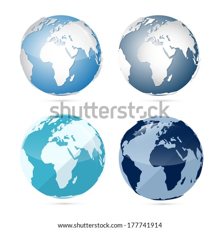 Earth World Globe Map Isolated on White Background