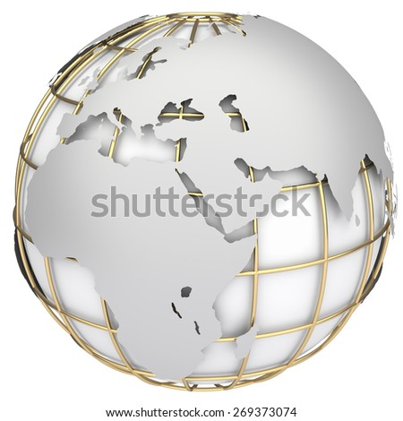 Earth world map. Africa and Europe on a planet globe - stock photo