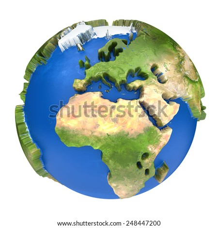 Earth world map. Africa and Europe on a planet globe. 3d concept illustration