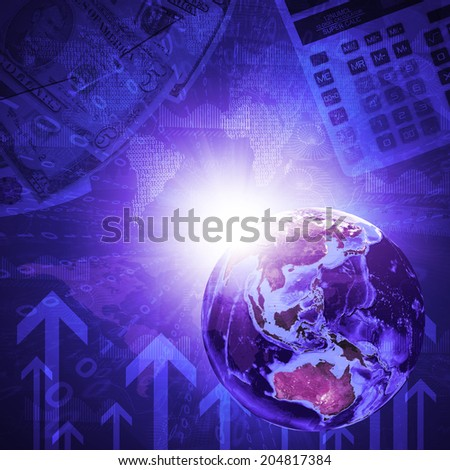 Earth, world map and arrow on money background. Business concept. Elements of this image are furnished by NASA