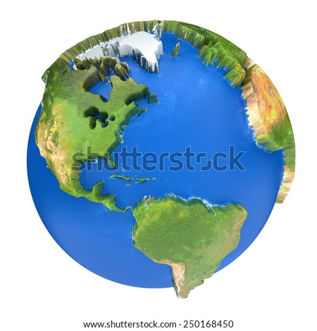Earth world map. North and South America on a planet globe. 3d concept illustration - stock photo