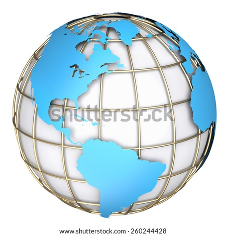 Earth world map. North and South America on a planet globe. 3d illustration - stock photo