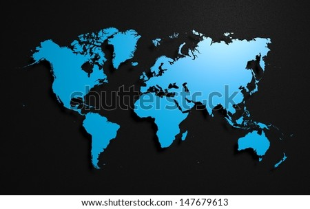 Earth world map on black background