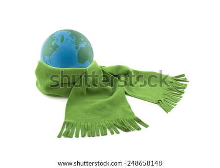 Earth wrapped in a scarf isolated on white - stock photo