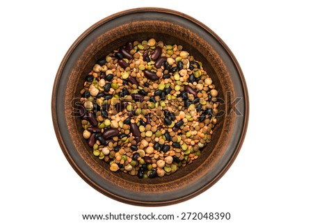 earthenware dish on a white background - stock photo