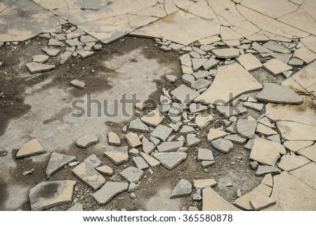 earthquake crack on a building floor. Showing the devastation of the quake wave.