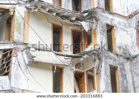 earthquake  house after May 12,2008  at beichuan,mianyang,china