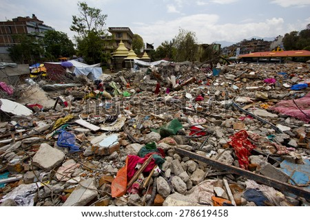 earthquake in Kathmandu - stock photo