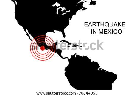 Earthquake in Mexico, illustration - stock photo