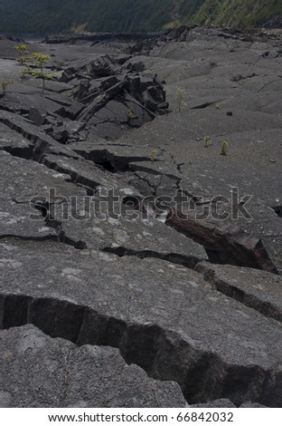 Earthquake shattering a road - stock photo