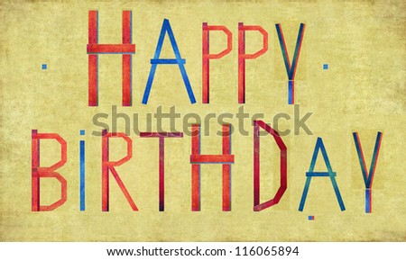 """Earthy background and design element depicting the words """"happy birthday"""" - stock photo"""