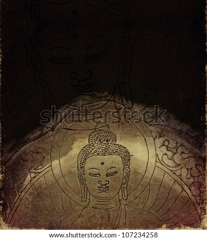 earthy buddha background and design element - stock photo