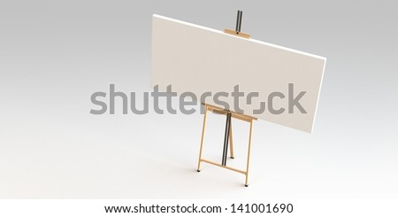 easel and canvas isolated on white