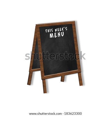 Easel chalkboard graphic for either placing menus  for the week on it - stock photo
