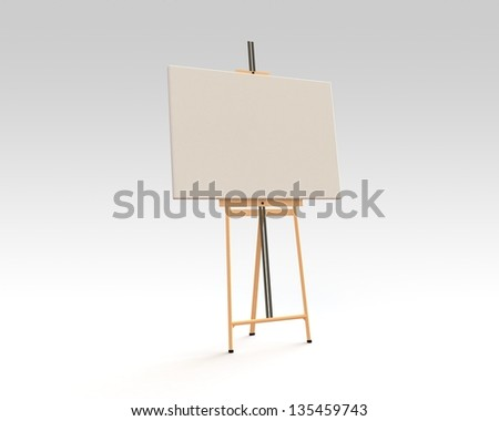 Easel on the floor isolated on white