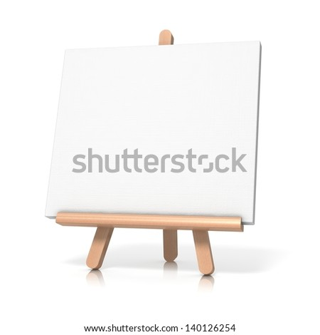 easel on white background if empty canvas - stock photo