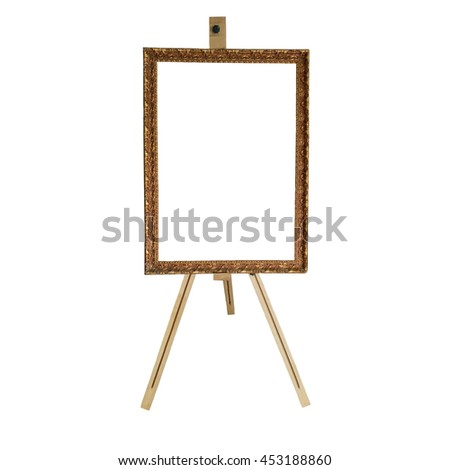 easel with a blank frame for the picture - stock photo