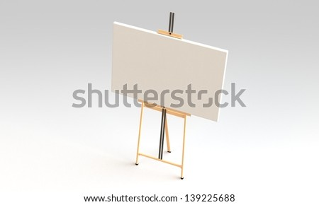 Easel with canvas isolated on white