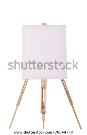 easel with canvas on white background