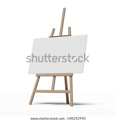 easel with empty canvas - stock photo
