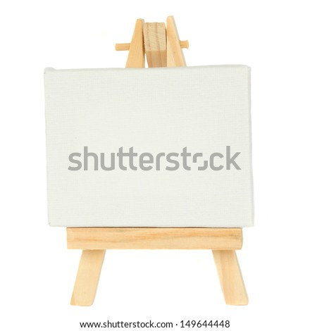 easel with empty canvas isolated on white background