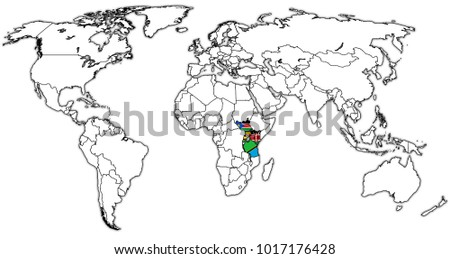 Best popular world map outline country stock vector 582504286 east african community member countries flags on world map with national borders gumiabroncs Gallery