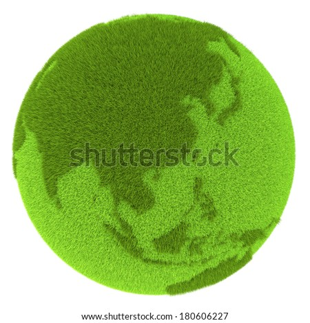 East Asia on green planet covered with grass isolated on white background. Concept of ecology and clean environment. Elements of this image furnished by NASA