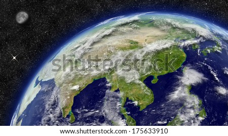 East Asia region on planet Earth from space with Moon and stars in the background. Elements of this image furnished by NASA.