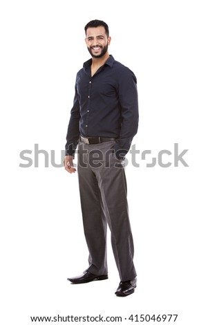 east asian handsome businessman on white isolated background