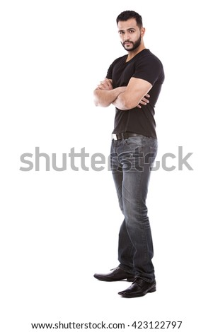 east asian handsome man wearing black tshirt and jeans