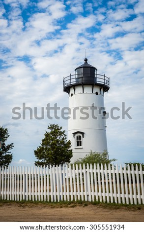 East Chop Lighthouse in Martha's Vineyard - stock photo