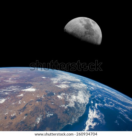 East coast of Australia (Newcastle to Brisbane) with the Moon above. Elements of this image furnished by NASA.