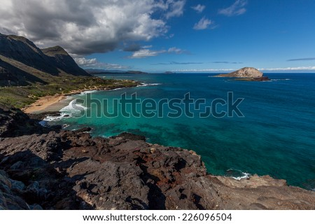 East coast of Oahu in Hawaii on the way to Kailua - stock photo