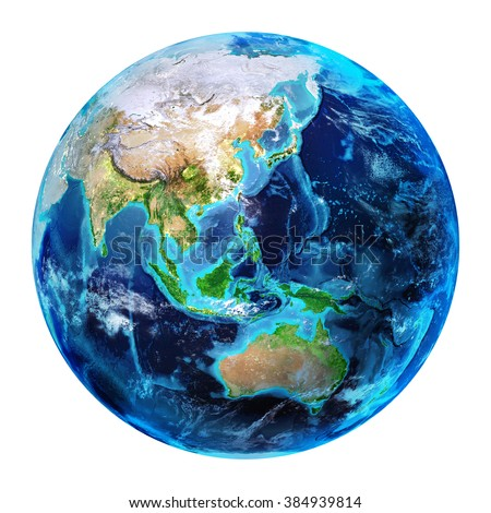 East Earth - 3d Illustration Isolated - Asia elements of this image furnished by NASA  - stock photo