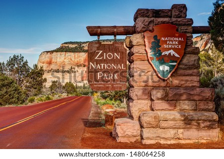 East Entrance Zion National Park Sign Utah  - stock photo